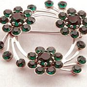 Lovely Vintage Green Rhinestone Flower Swirl Pin Brooch