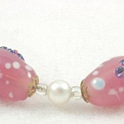 Fantastic Vintage Pink Red Blue Art Glass Bead Faux Pearl Necklace
