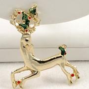 Vintage Christmas Green Red Enamel Berry Holly Reindeer Pin Brooch