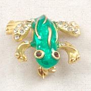 Adorable Vintage Green Enamel Rhinestone Frog Pin Brooch
