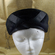 Vintage Bloomingdale's Black Velvet Hat with Veil Netting Ribbon