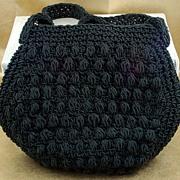 Vintage Lerner Crocheted Black Purse Handbag Italy