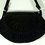 Beautiful Vintage Carpetbags of America Black Quilted Shoulder Handbag Purse