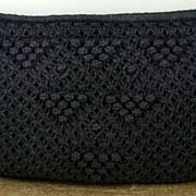 Vintage Knit Crocheted Black MCI Purse Handbag Clutch