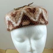 Vintage Brown Creamy White Wool Pillbox Pill Hat Netting