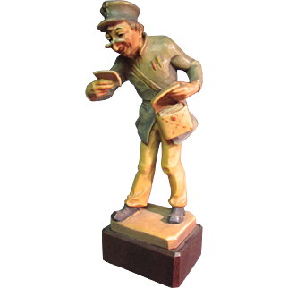 Anri Woodcarving Mail Carrier Postman