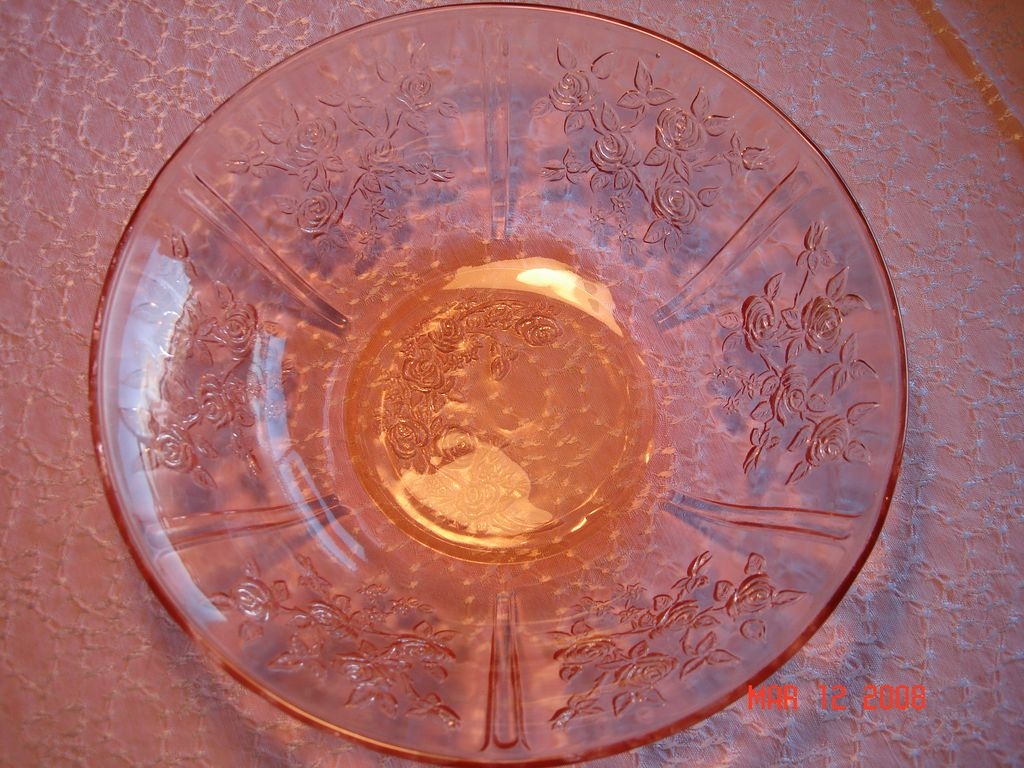 1930's Rose of Sharon Pink Depression Glass Serving  Bowl