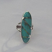 Sterling and Turquoise Inlay Ring ca. 1970's