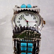 Turquoise and Mother of Pearl Corn Row Watch Bracelet ca 1970's