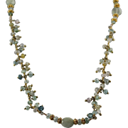 Extra Long Aquamarine and Gold Vermeil Necklace