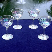 Iridescent Luster Port/Cordial Glasses in Loop Optic ca 1960's