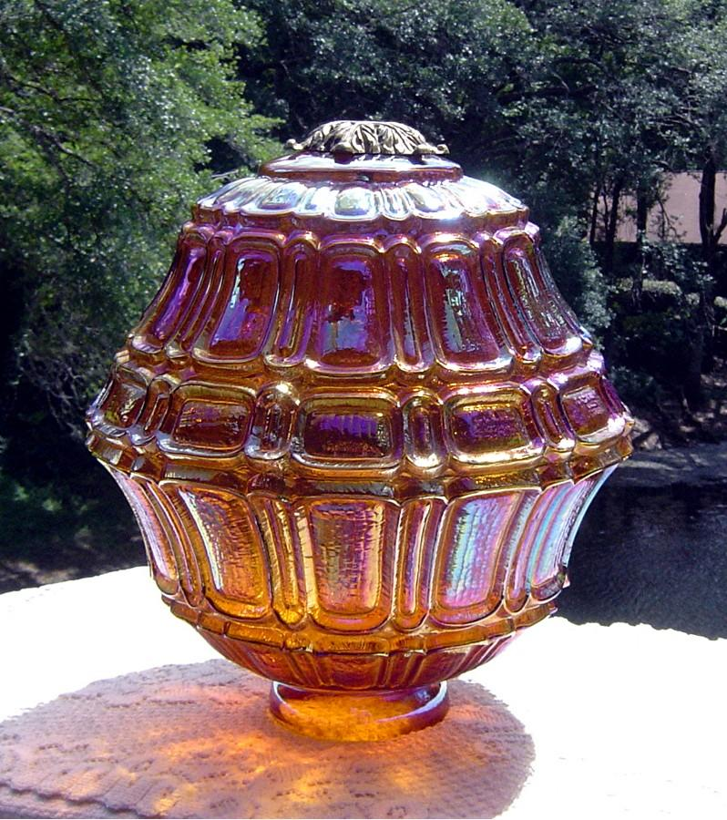 Large Amber Carnival Light Fixture ca Early 1900's