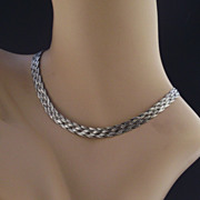 Italian Flat Woven Sterling Necklace