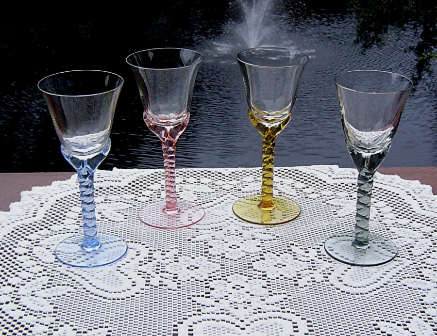 Elegant Twisted Stem Sherry or Liquor Cocktail Glasses