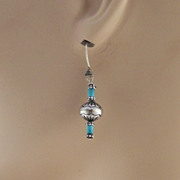 Hand Stamped Sterling Bead and Heishi Earrings