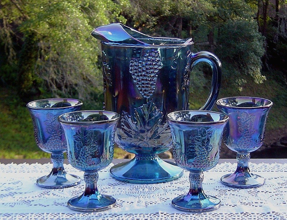 Harvest Blue Carnival Water Set with Goblets ca 1971