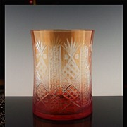 Amberina Cut to Clear Cylinder Vase