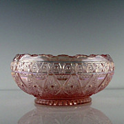 Imperial Glass Pink Carnival Bowl in Lace Pattern ca 1978-82
