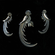 Sterling Quetzal Brooch and Earring Set