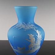 "Westmoreland 78-1 Vase in Blue Mist w Mary Gregory Design, Boy Fishing, 7"""