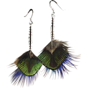 Sterling and Natural Peacock and Pheasant Earrings