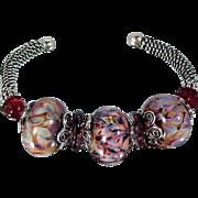 Caribbean Nights Sterling and Lampwork Bead Bracelet