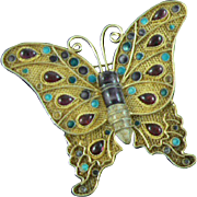 Chinese Butterfly Pin Sterling Gold Vermeil Enamel Glass
