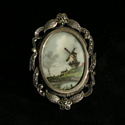 Dutch Windmill Brooch in Ornate Sterling Marcasite Frame