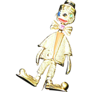 Les Bernard Vogue Clown Pin Sterling Gold Vermeil