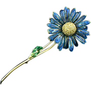18K Gold Enamel Flower Brooch