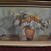 Greek art large oil floral still life painting signed NICOLAOU