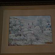 Israeli art signed 1954 modern watercolor gouache landscape painting of Israel