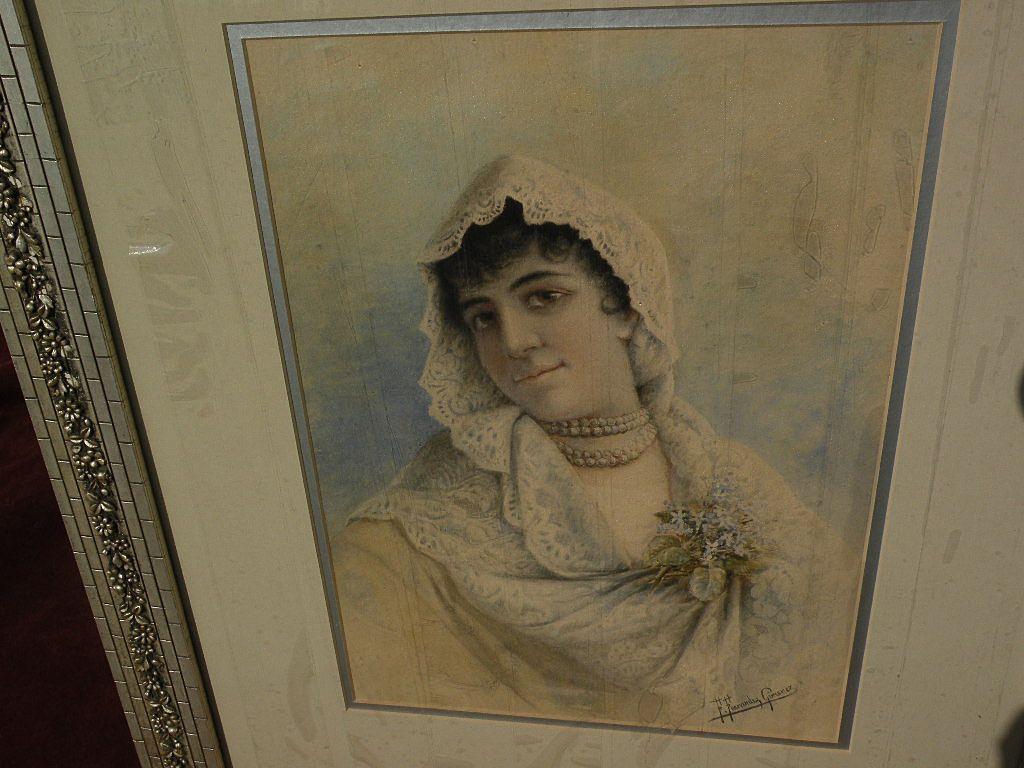 FEDERICO FERNANDEZ Y JIMENEZ (1841-c1910) Spanish art watercolor painting of young woman