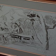 GENE (EUGENIA) FRANCES BAKER McCOMAS (1886-1982) Northern California artist charcoal drawing tropical scene
