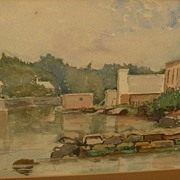 Bermuda art signed vintage watercolor landscape with houses dated 1887