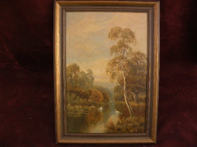 WALTER WALLER CAFFYN (1845-1898) listed English artist bucolic painting pond with swans