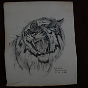 GLADYS EMERSON COOK (1899-1976) charcoal drawing of tiger by noted American artist specializin