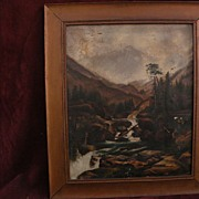 Vintage Colorado art early painting of Mountain of the Holy Cross after Thomas Moran