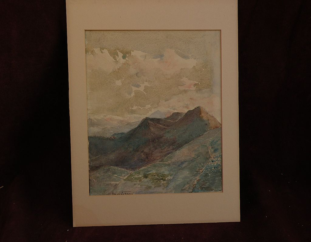 """Topographical art 19th century watercolor landscape """"Monterrey"""" probably Mexico"""