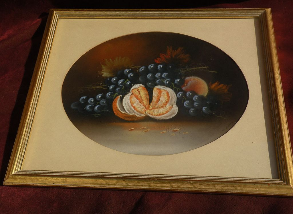 American vintage pastel art still life painting of fruit in 19th century style