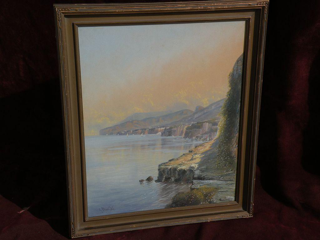 GIOVANNI BATTISTA (1858-1925) Italian gouache painting extensive coastal landscape probably Amalfi