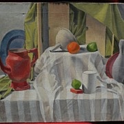 Signed contemporary complex still life painting of a group of objects on a draped table