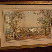 Fine English signed with monogram watercolor landscape of the Thames River dated 1874