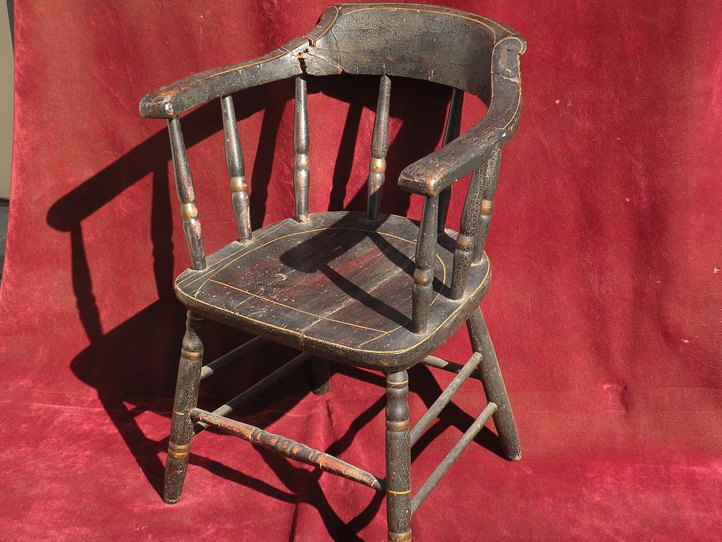 Early to mid 19th century American firehouse windsor chair original black paint and stencil