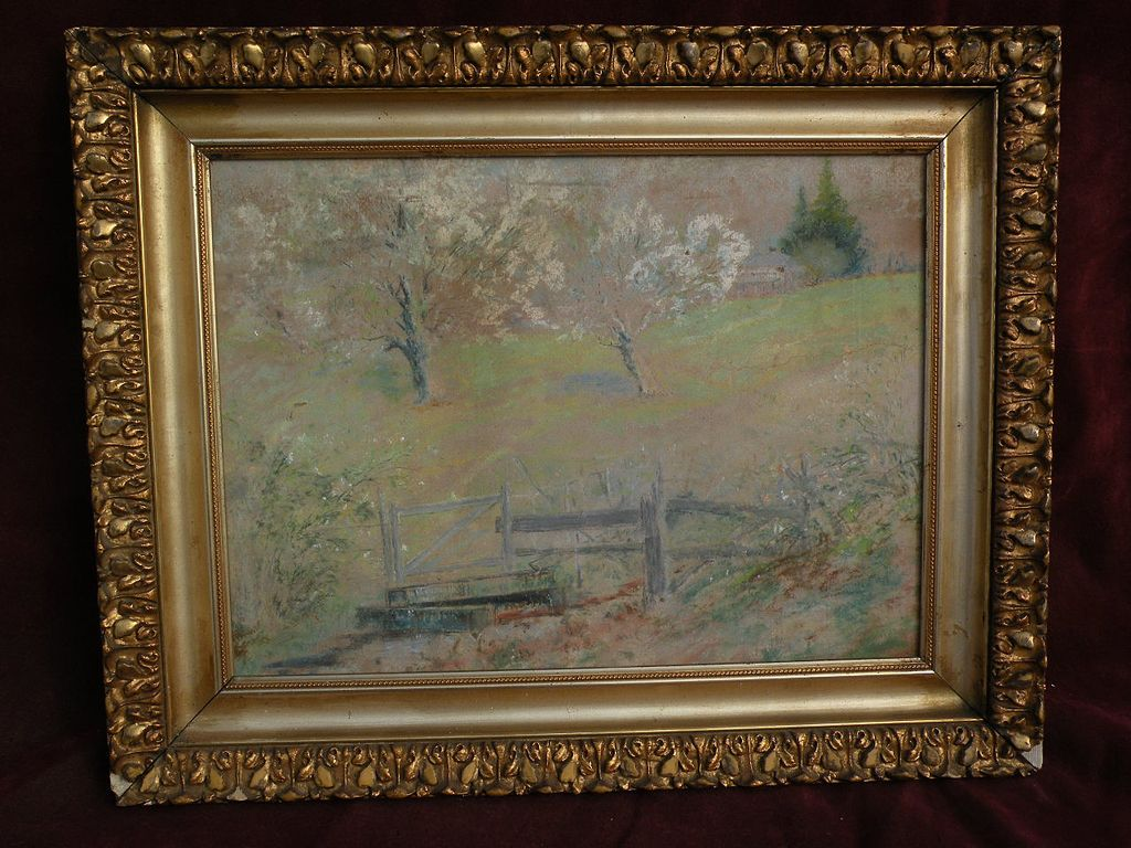 """FRANK J. GIRARDIN (1856-1945) Indiana and California impressionist pastel drawing of spring landscape """"The Old Watering Place"""""""