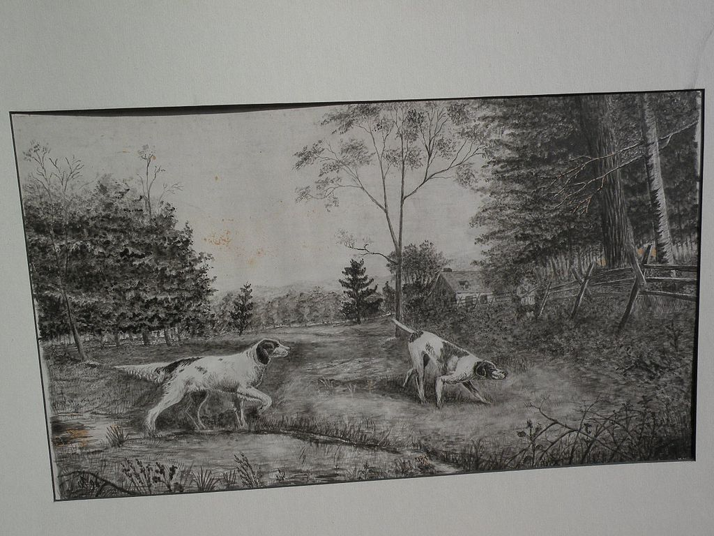 American 1896 watercolor hunting dogs signed with monogram possibly by JAMES DAVID SMILLIE (1833-1909)
