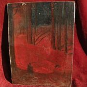 SVEND SVENDSEN (1864-1945) Norwegian American impressionist painter winter night scene in the snowy forest