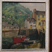 Interesting painting of a small coastal harbor scene likely Cornwall England signed dated 1969