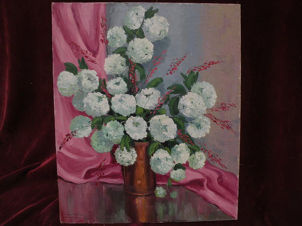 EUGENE DUNLAP (1916-1999)  California impressionist art floral still life painting circa 1940s