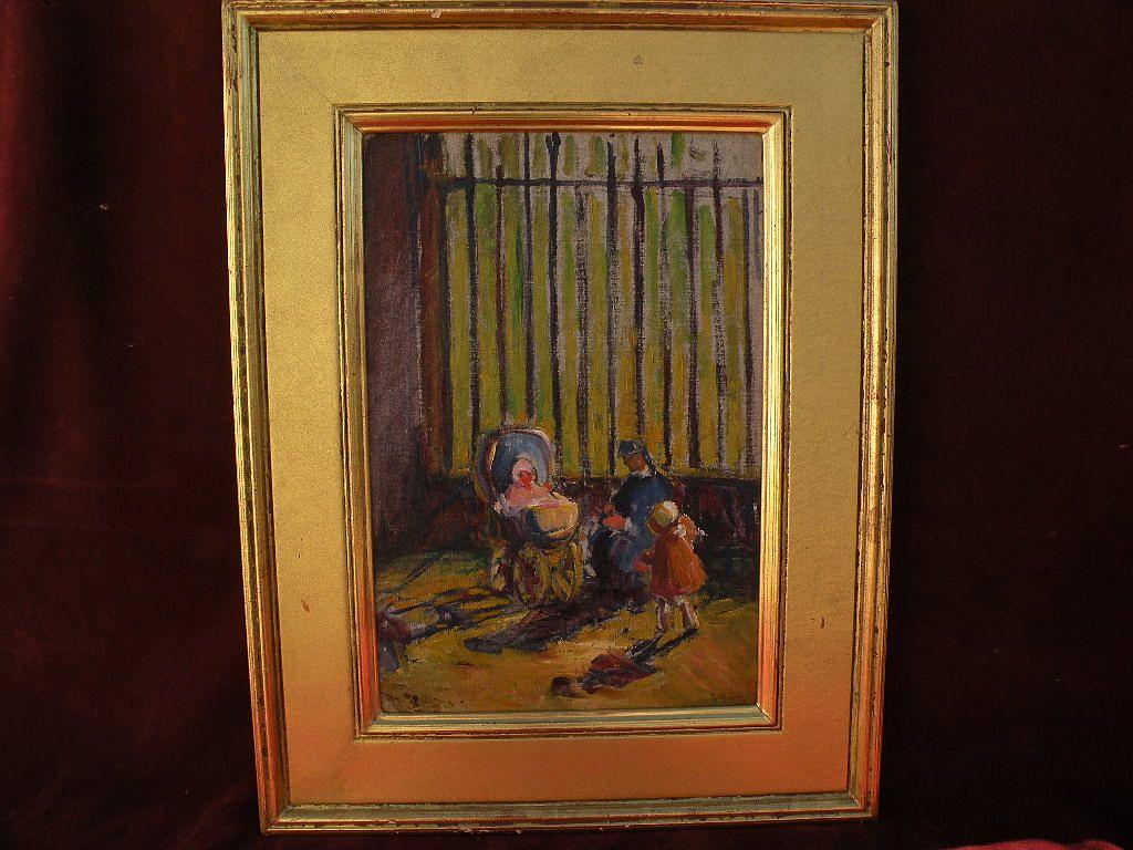RACHEL HARTLEY (1884-1955) American art social realist era painting by granddaughter of George Inness